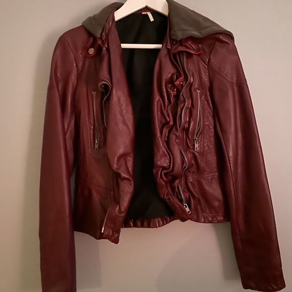Free People Red Leather Denim Jacket